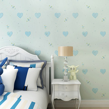 children room non-woven wallpaper wallpaper Boys and girls bedroom sweet heart lovely princess room environmental protection