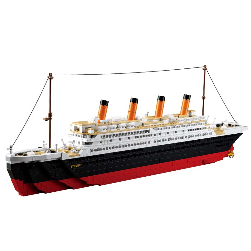Model building kits compatible with lego city Titanic RMS ship 3D blocks Educational model building font