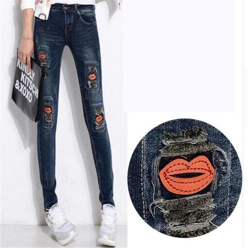 ФОТО 2017 New Spring Korean Version Red Lips Patchwork Female Denim Feet Pencil Pants Women Skinny Jeans Trousers High Waist Jeans