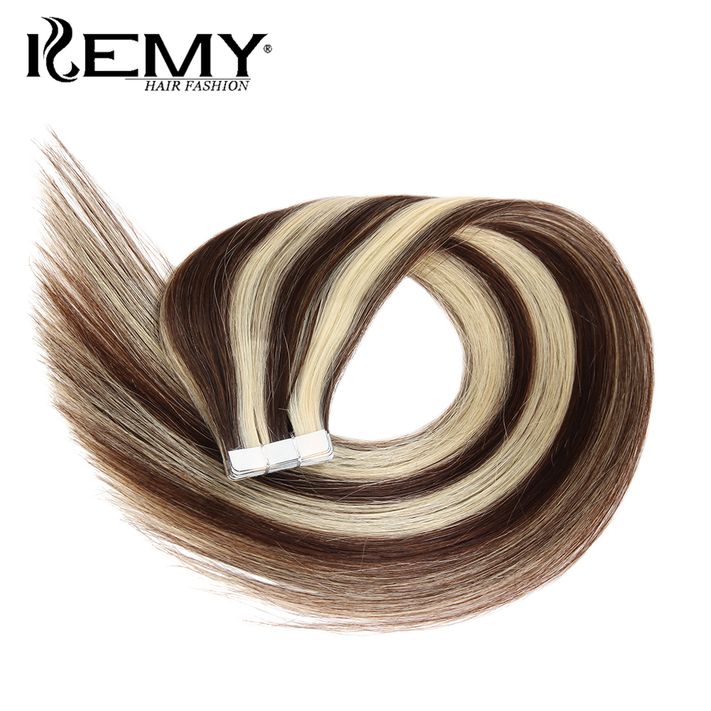 KEMY HAIR FASHION Peruvian Remy Tape In Human Hair Extensions Straight Piano Color Skin Weft Salon Hair 20pcs/lot 18 20 24inches