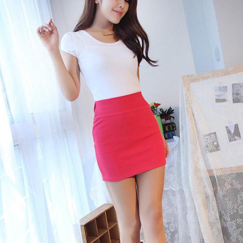 Summer Women Lady Sexy Solid Color Slim Elasticity Short Skirt Fashion High Waist Mini Hip Skirts Office Party Dg88