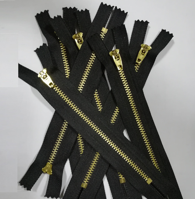 """4/"""" BLACK OR NAVY 10 CM JEAN ZIPS BRASS"""