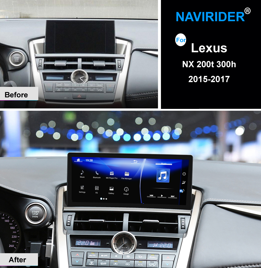 10.25 pouce octa core NAVIRIDER Android 7.1 Voiture Radio WiFi GPS Navigation BT Autoradio Écran Tactile pour Lexus NX 200 t 300 h nx200T
