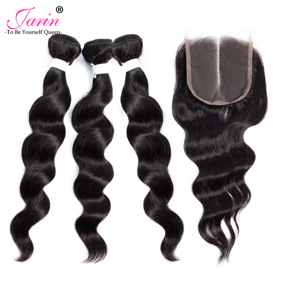 Jarin Peruvian Hair 3 Bundles With Closure Free Middle Three Part Loose Wave Bundles With Closure