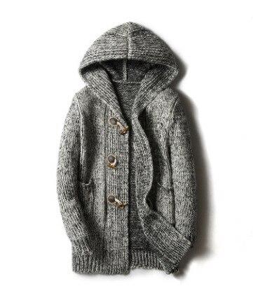 Long Horn 2018 Hooded Cardigan Sweater Coat