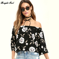 BRIGHT GIRL 2017 New Europe And The United States A Word Collar Printed Back Open Horn