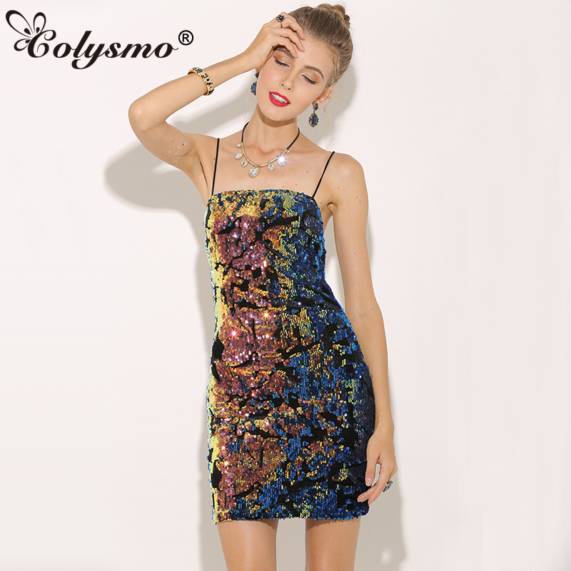 31e6709d5ca6 US $19.94 35% OFF|Colysmo Women Velvet Sequin Dress Winter Spaghetti Strap  Autumn Dress Christmas Party Dress Sexy Clubwear Ladies Bodycon Dresses-in  ...