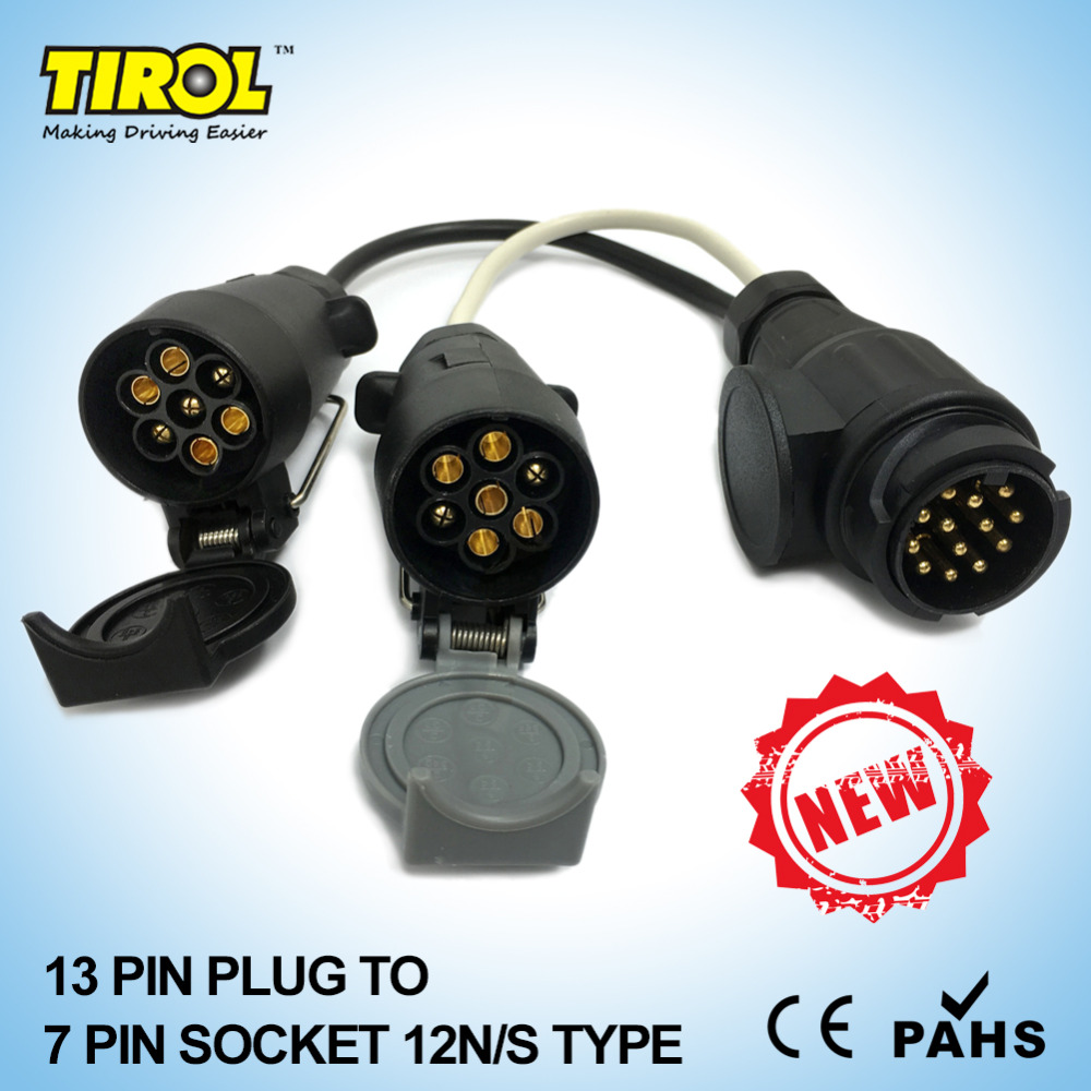 tirol new 13 pin euro plug to 12n 12s 7 pin sockets caravan towing conversion adapter [ 1000 x 1000 Pixel ]