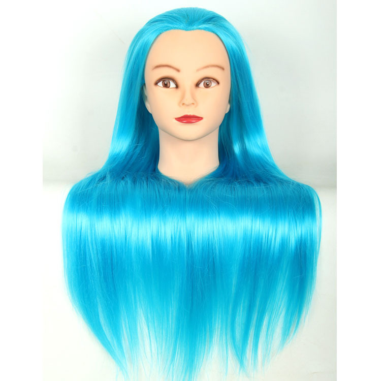 Mannequin Head with Blue Hair Training for Hairdressers Dummy Professional Styling