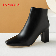 ENMAYLA Autumn Square Heel PU Women Boots Solid Hig Rubber Basic Womens Ankle Fashion Shoes 2019 Winter