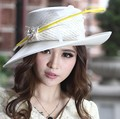 Women Formal Derby Church Wedding Cocktail Evening Beach Hat Diamond Vintage Wide Brim Fedora French Style Sun Cap