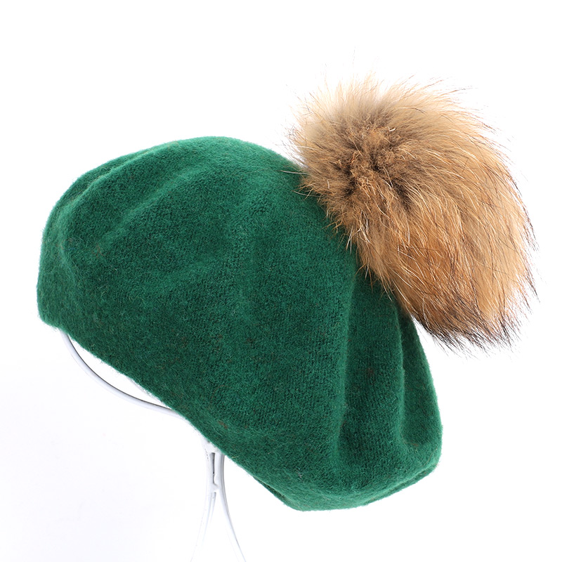 Берет художника, уличные шапки художника, осень и зима, новые теплые вязаные однотонные кепки, модный мех енота, помпон, берет в стиле винтаж - Цвет: Dark Green