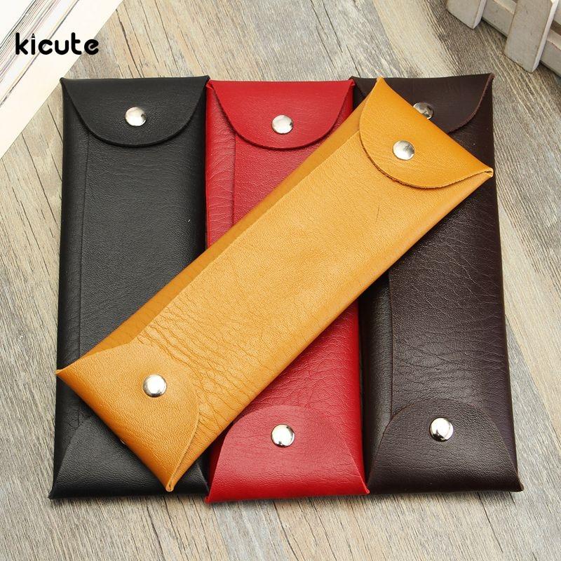 1Pcs Retro Design Simple Leather Pen Pencil Case Bag Stationery Cosmetic Storage Organizer Bag School Student Supplies