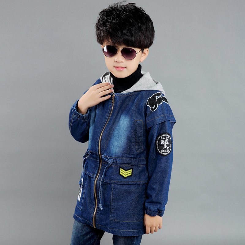 New 2016 Boys Embellished cotton hooded coat children jeans denim jacket Spring Autumn long sleeve baby boy`s outwear stylish hooded long sleeve drawstring mid length jeans coat for women