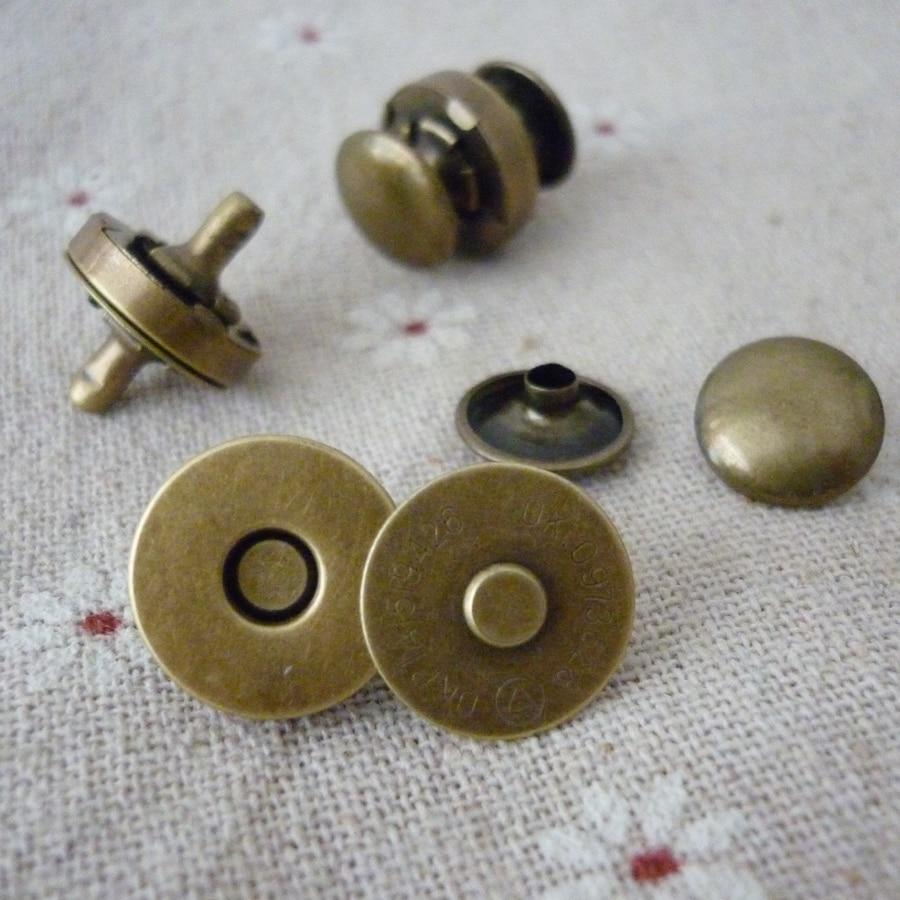 100 Sets Metalen Dubbelzijdig Klinknagel Magneet Knop 14mm/18mm Zilver/brons/goud Knoppen Voor Tas/portemonnee Kleding Naaien Accessoire Geselecteerd Materiaal