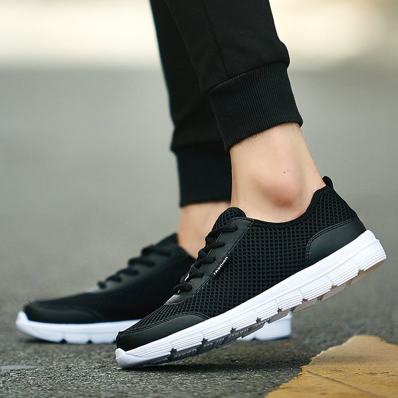 HTB1L8.Dah rK1RkHFqDq6yJAFXaD Sneakers Men 2019 Air Mesh Breathable Lace Up Solid Men Trainers Shoes Hot Sale Outdoor Walking Casual Shoes for Men