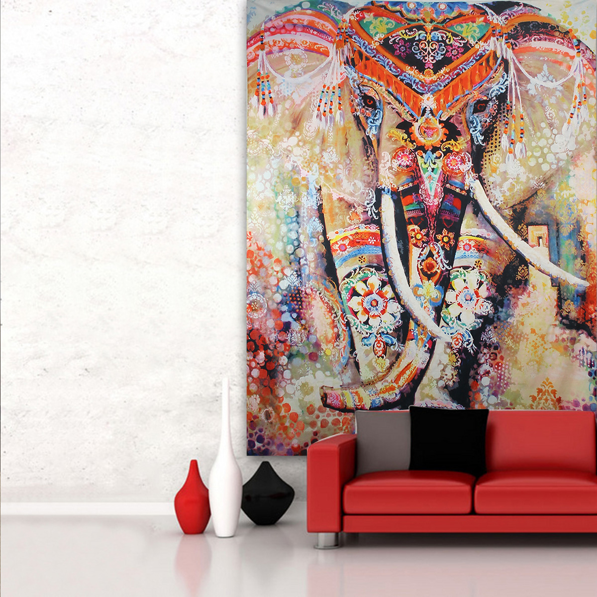 Elephant Mandala Tapestry Throw Towel Hippie Tapestry Floral Printed Home Decor Wall Tapestries Bedspread 210*150CM 7