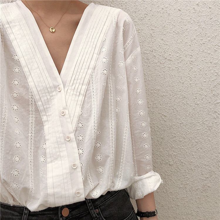 Sweet Crochet Hollow Out Lace Embroidery V-neck Oblique Placket Shirt Chic Blouse Female 2019