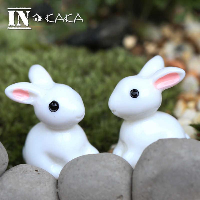 2 قطع زكا الرئيسية حديقة الديكور الحرف الصغيرة مصغرة نموذج عمل الشكل لعبة دمية الأرنب الحيوان diy اكسسوارات صور الدعائم