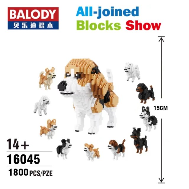 Balody Mini Blocks 10 in 1 Cute Dog Plastic Building Toy Animal dachshund Model Brinquedos Husky Toys for Children Lovely Gifts wl mini blocks captain america animal fruit intelligence model building nanoblock diy cute party supplies toy