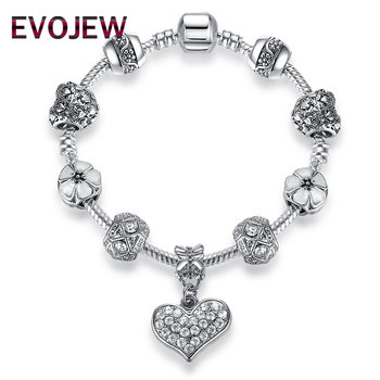 EVOJEW Fashion Bracelets DIY Women Jewelry Making Crystal Beads Charms Bracelets Life of tree Pendant Bracelets Dropshipping
