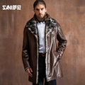 2017 Slim Sheepsin Fur Shearling Winter Genuine Goat Leather Fur Clothing Male Suit Sheepskin Wool Liner Men Formal Clothing