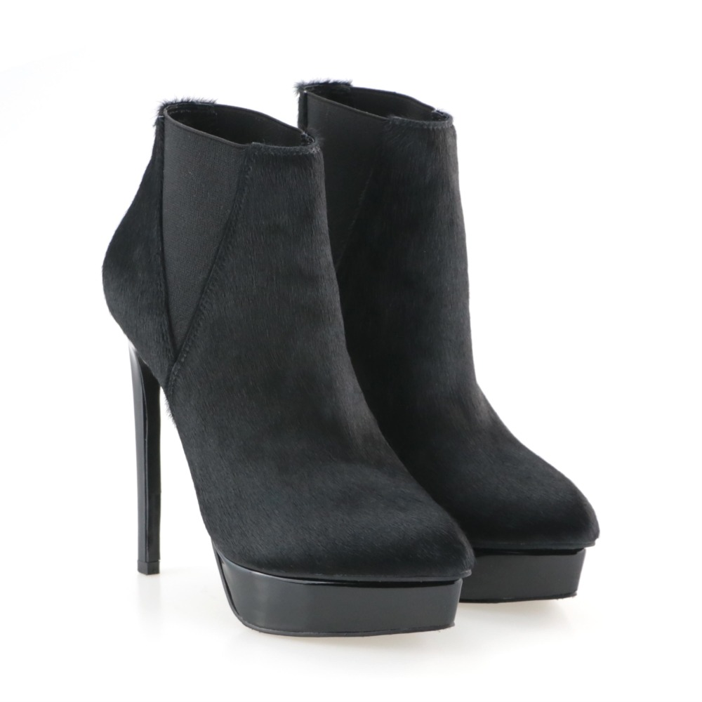 Fashionable Female Genuine Suede Leather Stiletto Slip-on Platform Thin Heel Shoes Big Size 42 Sexy Black Women Ankle Boots 853016 fashionable gothic black leather underbust corset for women black size l