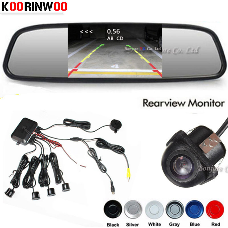 Koorinwoo Car Video Parking Sensors Assistance 4.3 Inch Tft Auto Mirror Monitor Car Rear View Camera Reversing Radar 4 System Alarm Systems & Security