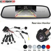 Koorinwoo CCD Sensore di Parcheggio Auto di Assistenza Al 4.3 Monitor Dello Specchio Videocamera vista posteriore del Sensore Radar di Retromarcia Sistema Cieco Parkmaster