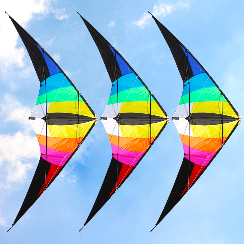 free shipping 2 2m large rainbow dual line stunt kite flying toys for adults nylon ripstop