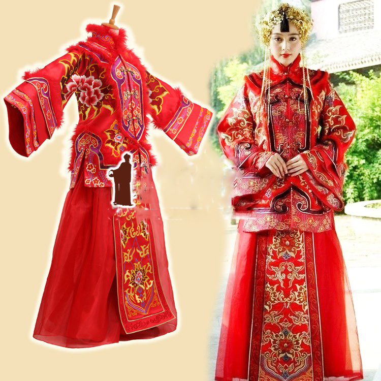 TV Play Yanzhixue Actress Fanbingbing Wedding Costume XiuHeFu LongFengGua Toasting Costume Hanfu with Hair Tiaras