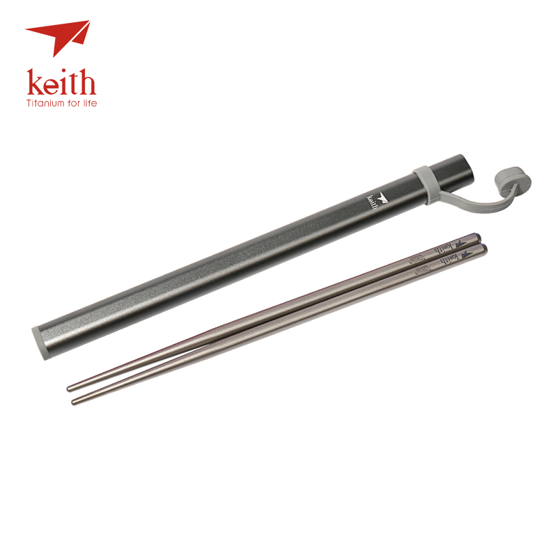 Keith Titanium Food Sticks Outdoor Tableware Chinese Chopsticks For Camping Picnic Traveling Square Chopsticks Ti5622 Ti5822 keith ti5622 titanium alloy chopsticks with rectangular shape