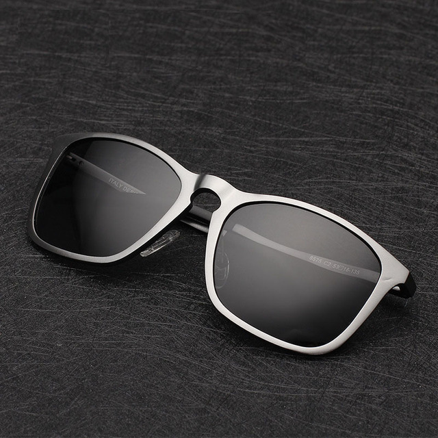 2016 Vintage square Polarized Sunglasses men Driving mirror Sports Eyewear brand luxury sunglasses Aluminum-magnesium sunglasses