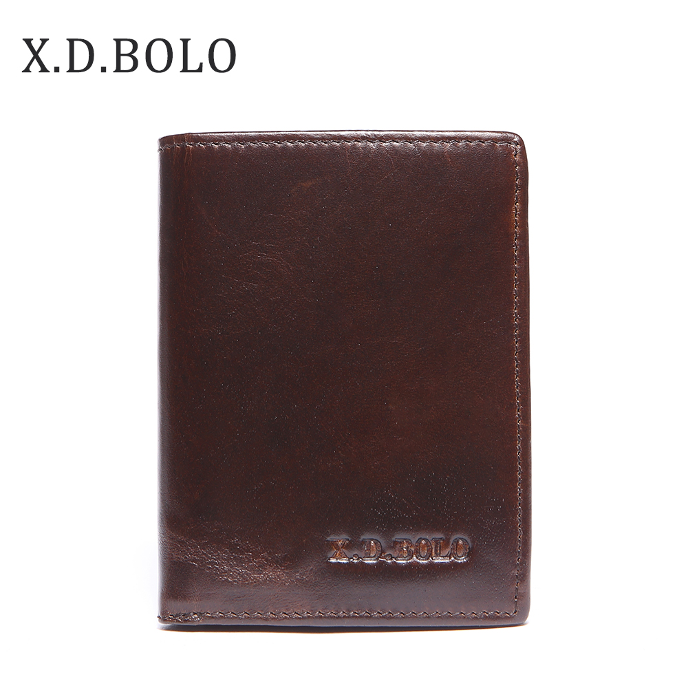 Wallets Card-Holder Coin-Pocket Men's Purse Zipper Genuine-Leather for Thin Slim XDBOLO