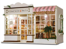 24e DIY En Bois Artisanat Miniature Poupées Maison Modèle-LED + Tous Les Meubles Dollhouse & Anglais instruction Plus photos