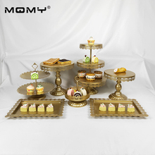 New 7 pcs Gold Wedding Decoration With Crystal 3 Tier Metal Cupcake Cake Stand