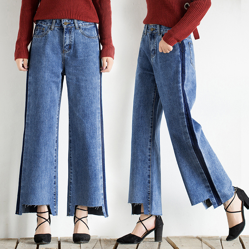 Idopy Fashion Women Vintage Washed Denim Wide Leg Pants Female Side Stripe Legging High Waist Jeans Bell Bottom Jeans For Women 3