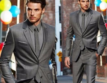 New Arrival Custom Made Dark Gray Classic Groom Tuxedos Best Man Suit Wedding Fashion (Jacket+Pants) No Risk Shopping Fall-Winte