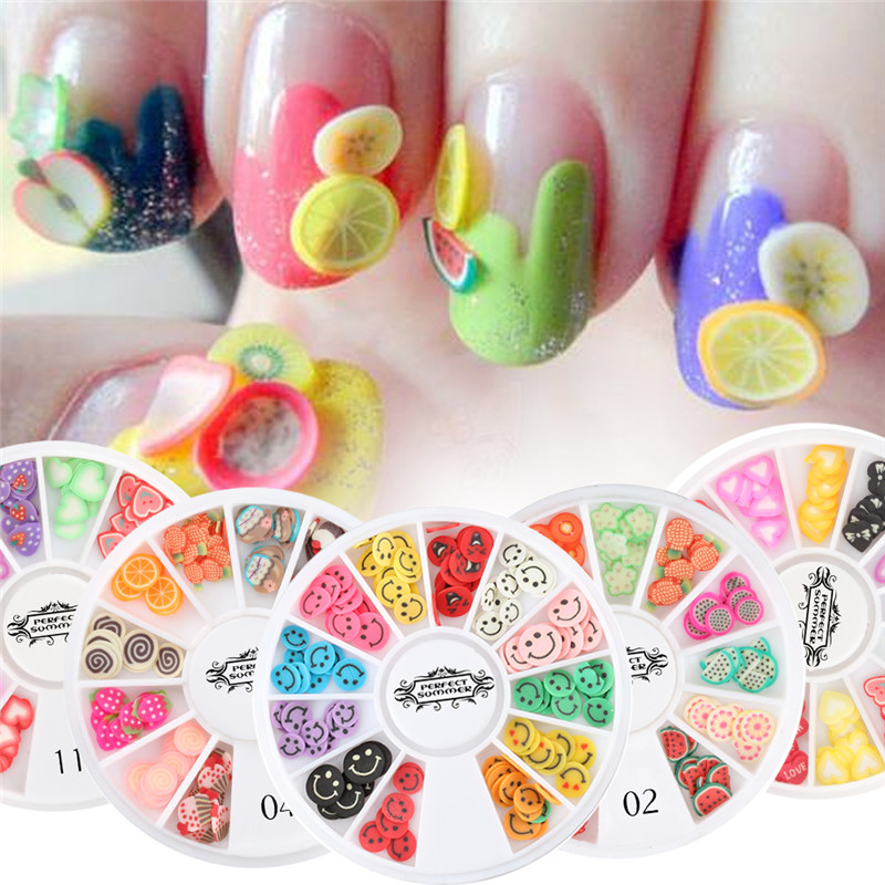 Candy Lover 1 Wheel 3D Polymer Clay Tiny Fimo DIY Nail Art Manicure Decorations Fruit Flower Slices In Rhinestones From Beauty
