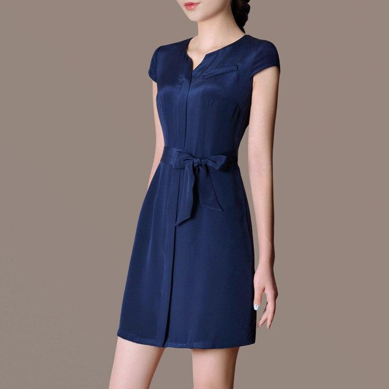 Female Summer Oversized Solid O Neck Short Knee length A line 20 Silk Slim Dresses Woman