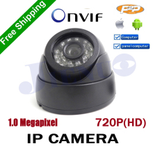цена на Mini IP Camera 720P H.264 1.0 Megapixel HD ONVIF 2.0 P2P Indoor 24pcs IR LEDs IR-CUT Night Vision Network Dome CCTV cam