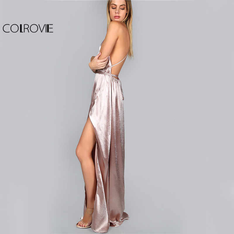 ... COLROVIE Maxi Party Dress Women Pink Plunge Neck Sexy Cross Back Wrap  High Slit Summer Dresses ... eca2ad986bac