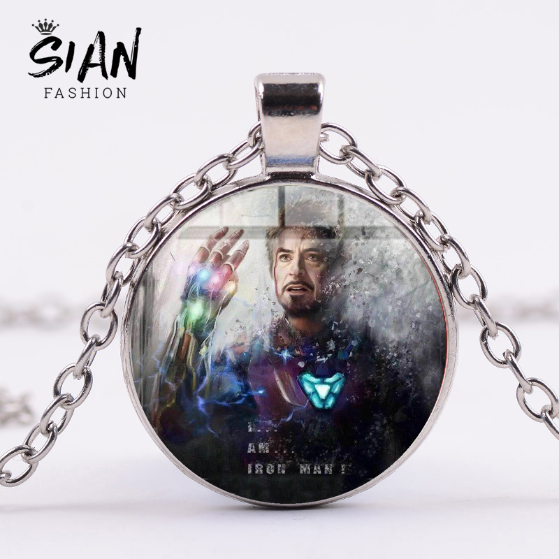 SIAN Iron Man Tony Stark Infinity Gauntlet Pendant Necklace The Avengers 4 Endgame Quantum Realm Art Poster Glass Dome Necklace