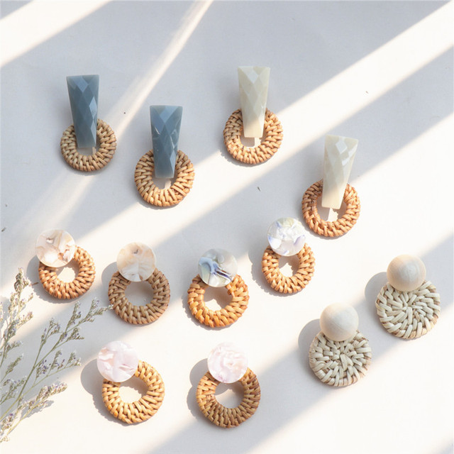 6 Styles Korea Handmade Irregular Acrylic Stone Wooden Big Hollow Out Round Circ