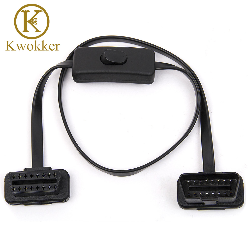 KWOKKER 60CM OBD 2 Male to Female Right Angle Diagnostic Extension Cable 60CM with Power Switch Extension Cable Diagnostic Tool free shipping internal motherboard hd ac97 audio 9pin male to female extension extension cable cord 60cm
