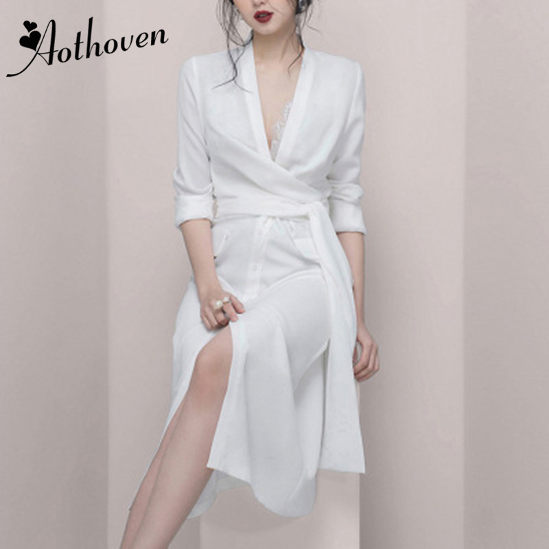 2019 Summer High end Women Dresses Full Sleeve V Neck Asymmetrical Dress Office Lady Bandage Sexy