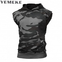 YEMEKE Fashion Casual Classic Solid Color Cotton Hoodies Mens Spring New Thin Men Sleeveless Sweatshirts Clothing
