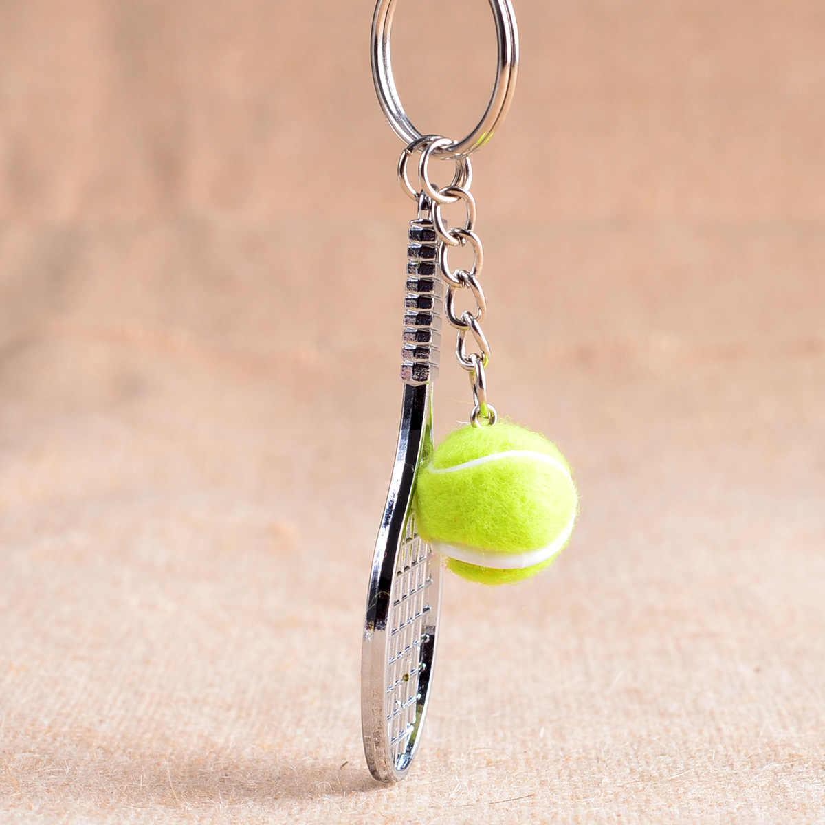 Mini Metal Tennis Racket Souvenir Cute Tenis Racquet Ball Key-chain Sports Key Chain Car Bike Keyring Simulation Gift L770