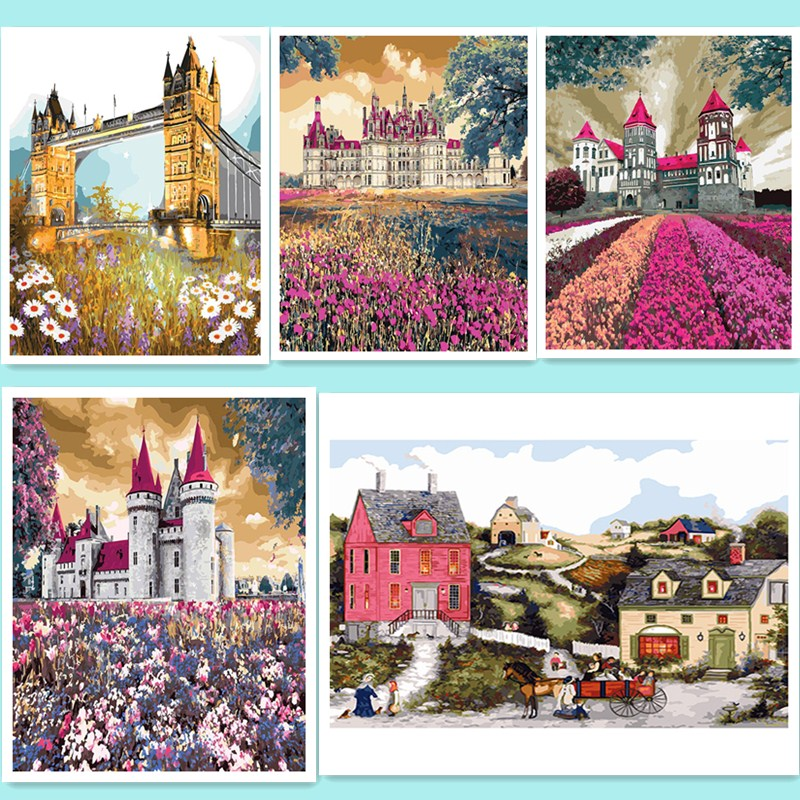 picture on wall acrylic paint by numbers diy painting by numbers Christmas gift coloring by numbers Canvas oil Painting DY98