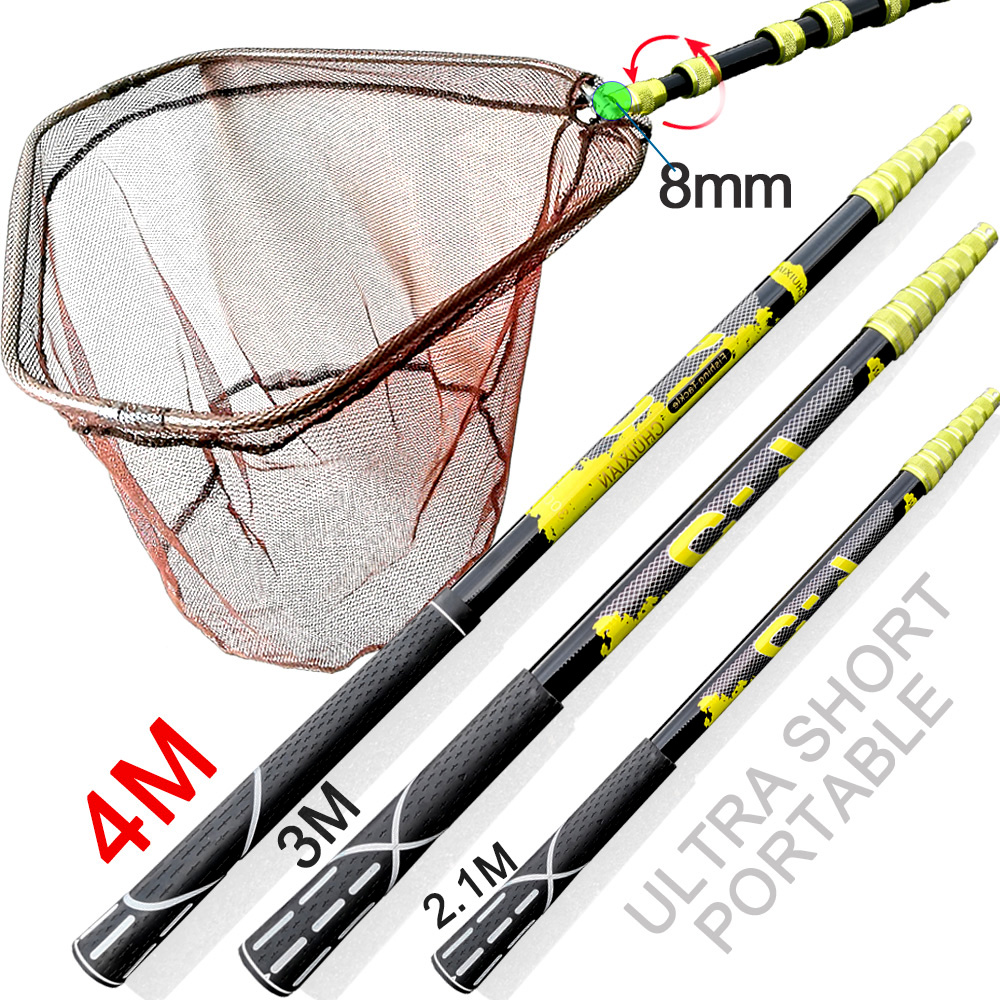 Hand-Nets Folding Collapsible-Steel Nylon 3M 4M Carbon-Rod Tackle-Rhombus-Tank Hole-Depth